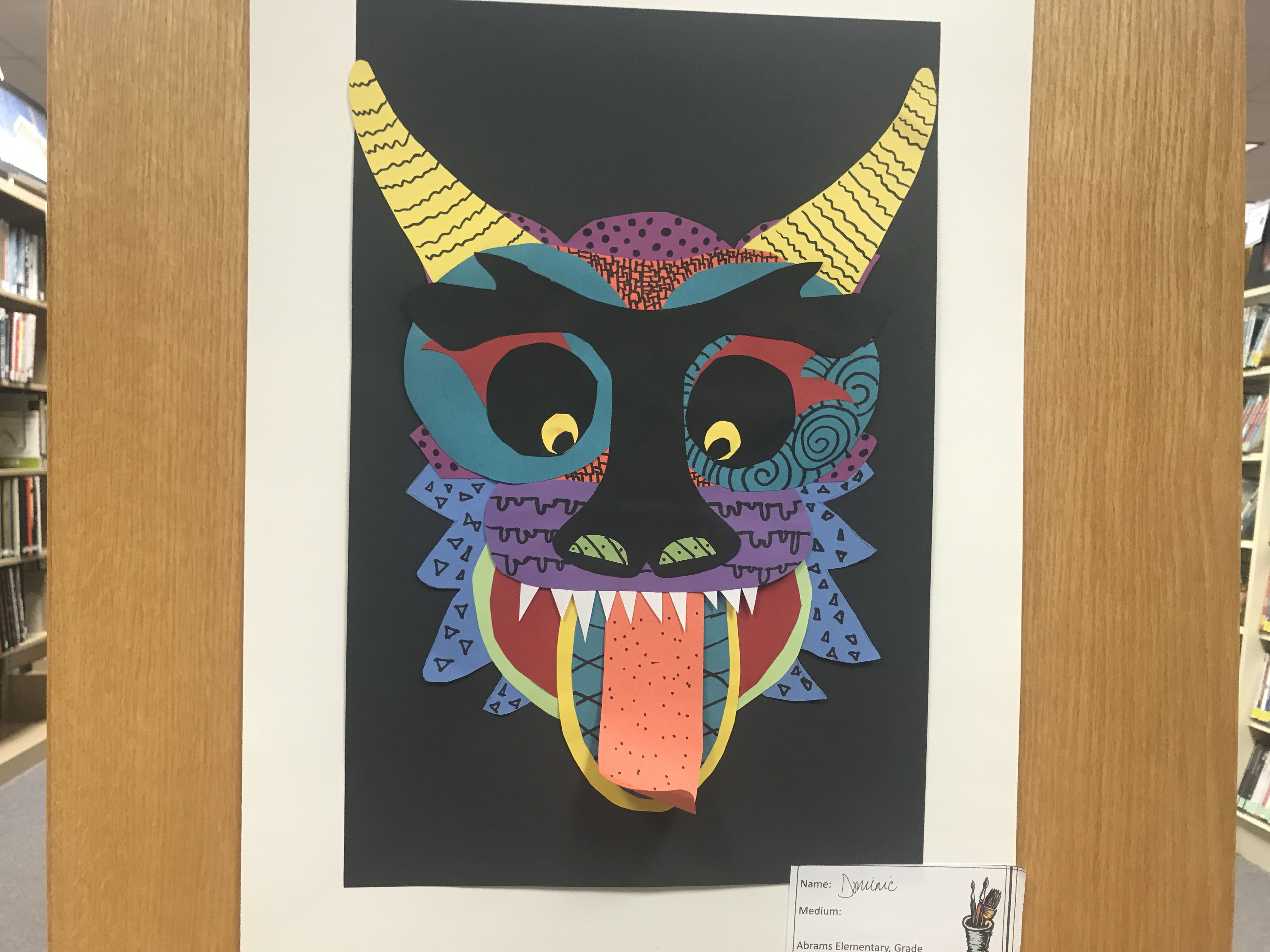 """This three-dimensional artwork is signed by """"Dominic"""" from Abrams Elementary School. Warren Bluhm 