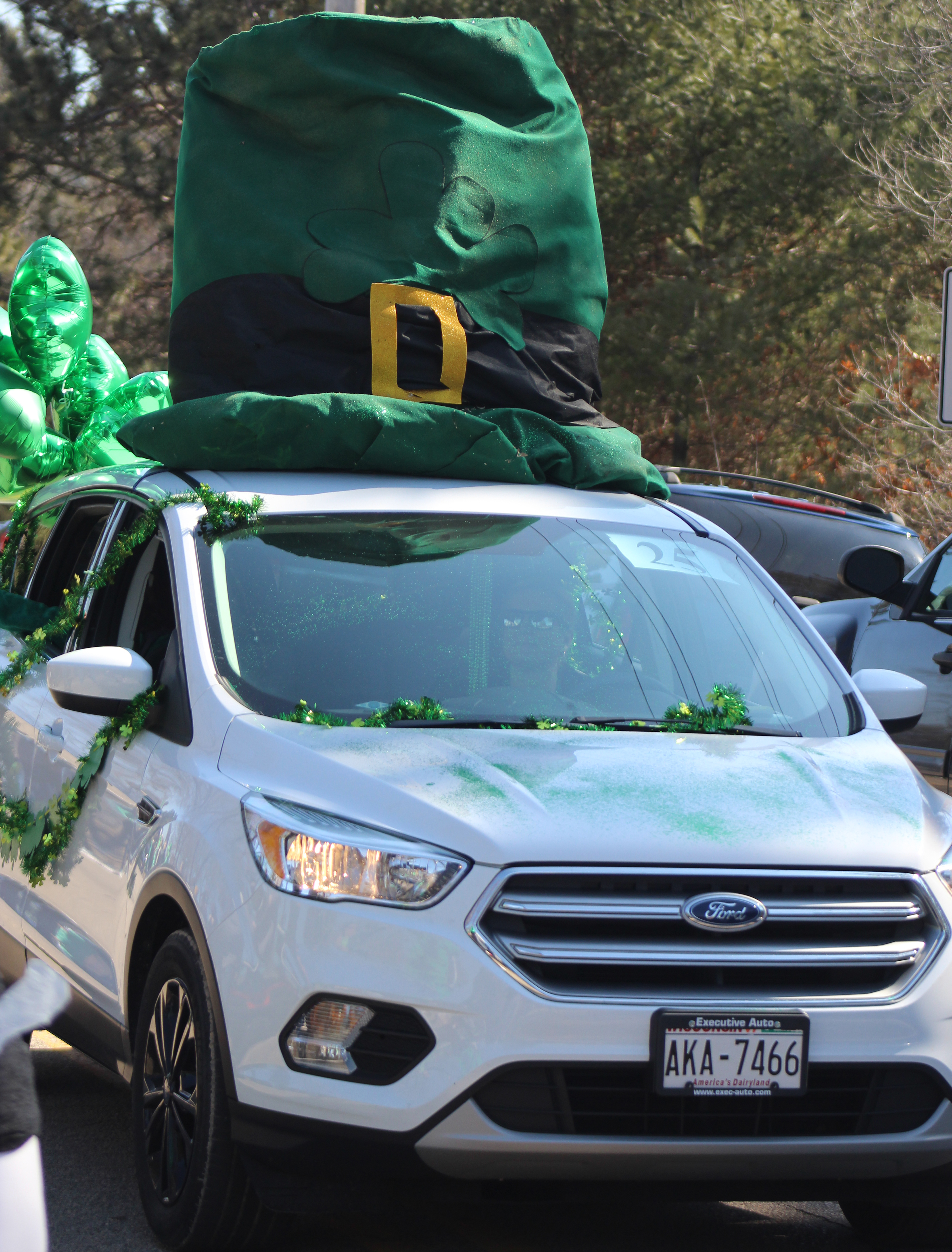 It wasn't just people donning green leprechaun hats at the Mooseyard St. Patrick's Day parade March 13. Vehicles were also decorated for the holiday event.(Lee Pulaski | NEW Media)