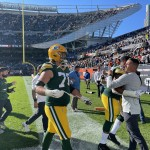 Green Bay Packers coach Matt LaFleur, right, congratulates players after the team defeated the Chicago Bears on Oct. 17 at Soldier Field in Chicago.  Greg Mellis | NEW Media