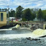The spillway of the dam at the Shawano Paper Mill regulates the water level of the Wolf River at a level regulated by the Federal Energy Resources Commission.  Greg Mellis | NEW Media