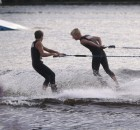 Jack and Ryan Strachan perform during the Shawano Ski Sharks final show of the summer on Wednesday. The start of the Ski Sharks season was delayed until July 1 because of the coronavirus pandemic.  Morgan Rode | NEW Media