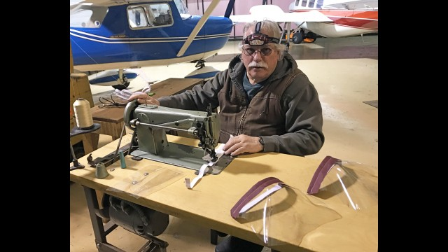 Harlan Pygman, a pilot and retired professor at the College of Menominee Nation, set up shop in the Shawano Municipal Airport to make face shields for the Menominee Tribal Clinic health care workers. Matty Mathison
