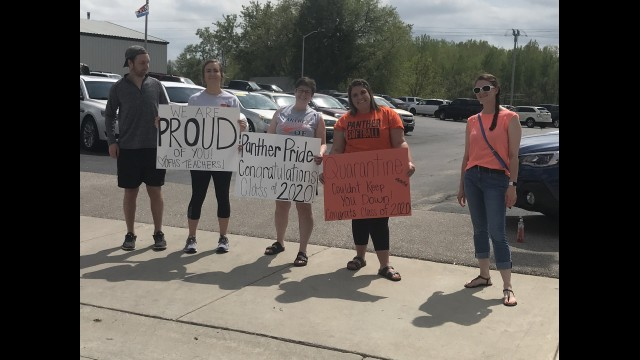 Oconto Falls High School teachers gathered near Main and Cherry streets Sunday to congratulate the Class of 2020 as they drove by. From left, Tyler, Laszczkoski, Hannah Zidon, Danielle Love, Kelli Lawless and Melissa Plank.  Warren Bluhm | NEW Media