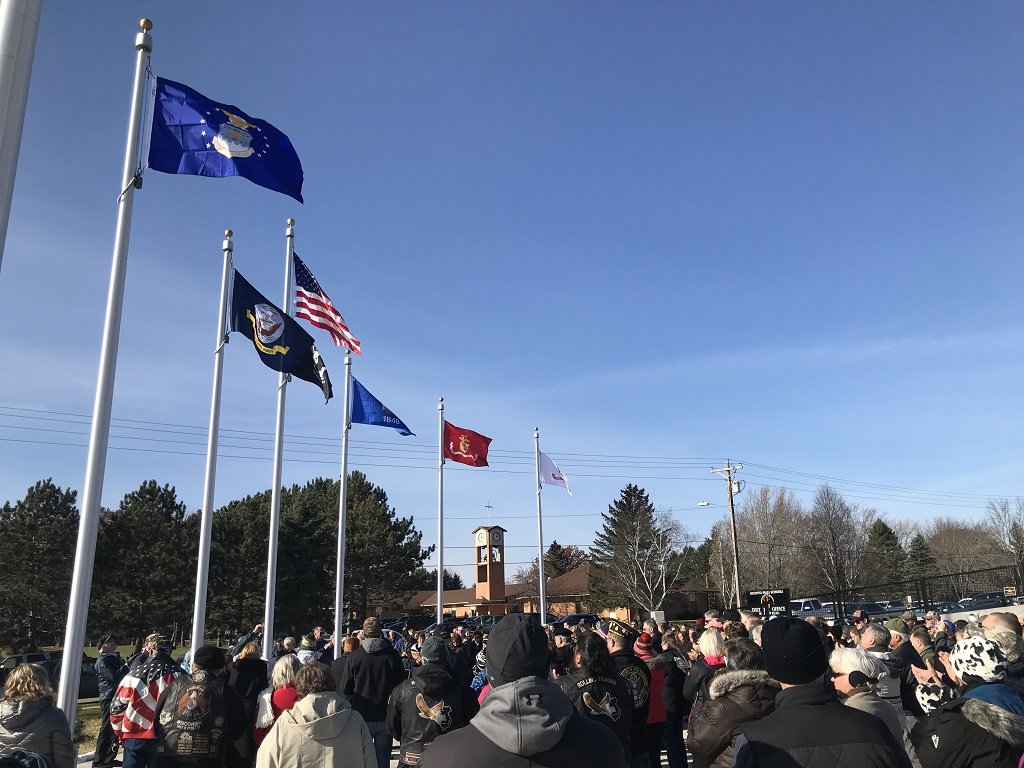 The plaza of the new Oconto Falls Area Veterans Monument was filled to overflowing after the Nov. 9 dedication ceremony. (Warren Bluhm | NEW Media)