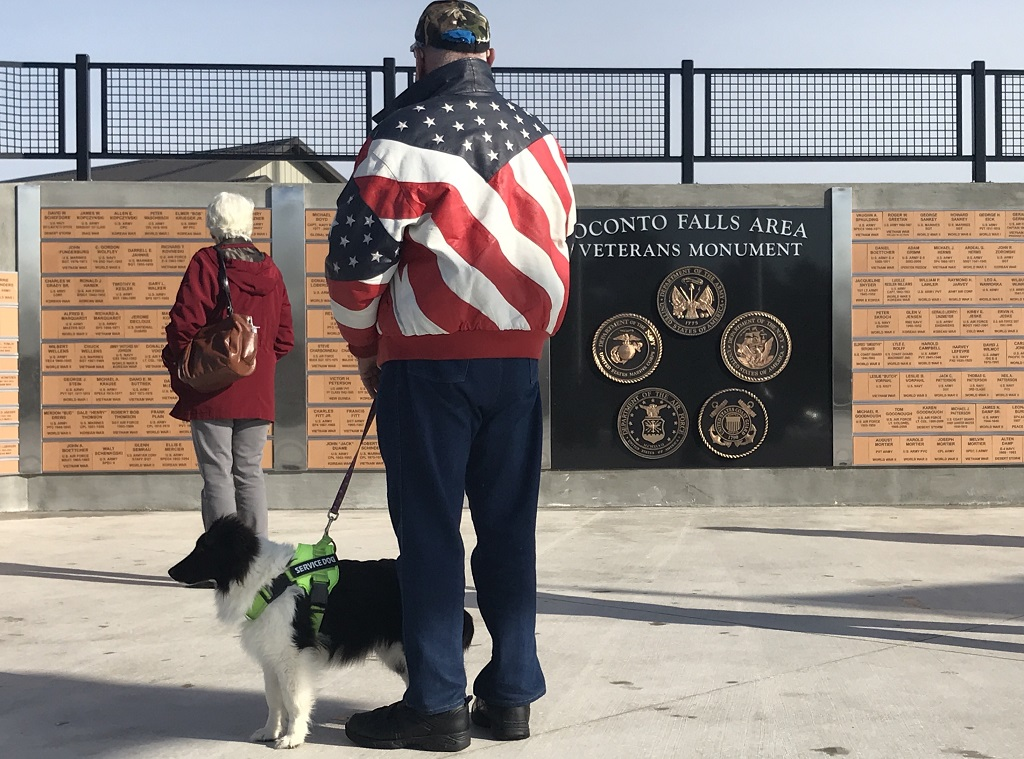 A veteran and his faithful companion check out the veterans monument prior to the dedication ceremony, which was held up the street at Oconto Falls High School. (Warren Bluhm | NEW Media)