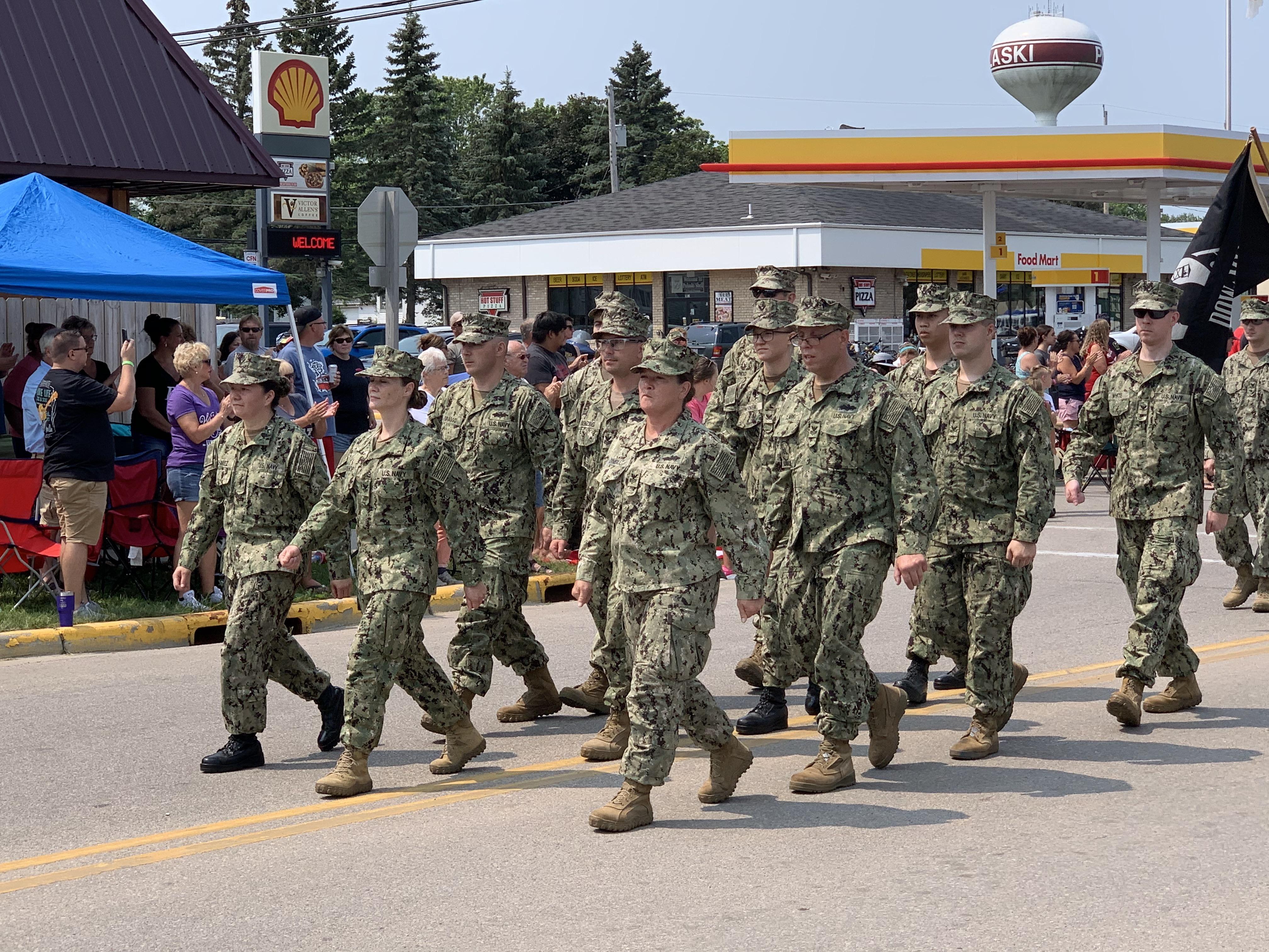 Members from the various branches of the military walk down Pulaski Street on July 18, honoring prisoners of war.Luke Reimer   NEW Media