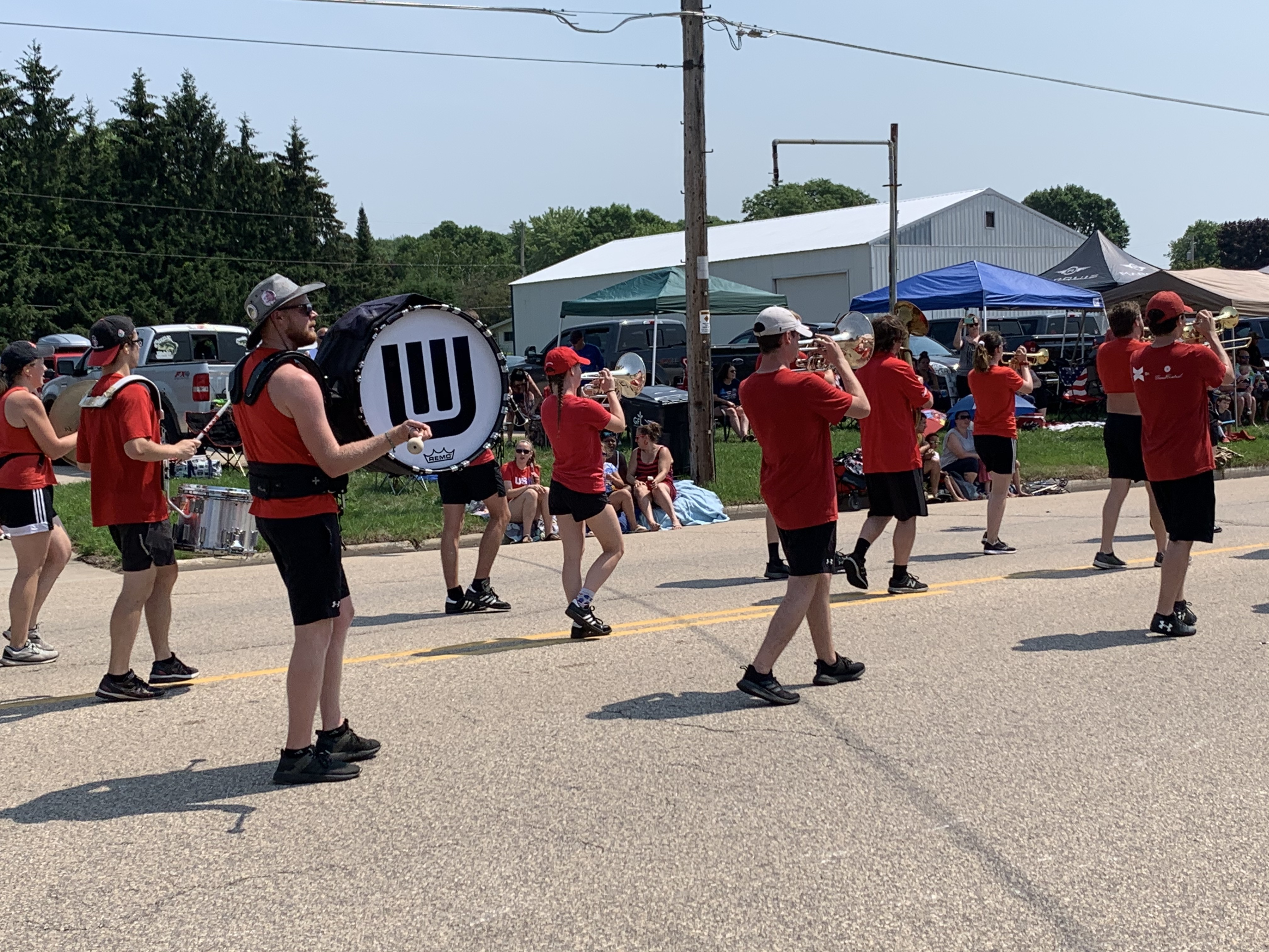 Members of the University of Wisconsin marching band provide music, while taking part in the Fourth of July parade in Bonduel on July 4.Luke Reimer | NEW Media