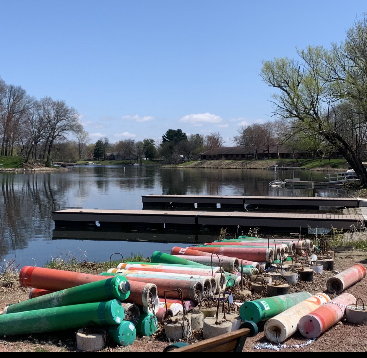 Members of the Shawano Area Waterways Organization placed water buoys on the shores of the Wolf River at Huckleberry Harbor on April 28. The buoys will be put into the water in the next couple of days as preparation for the 2021 fishing season begins on May 1.<br />Luke Reimer | NEW Media