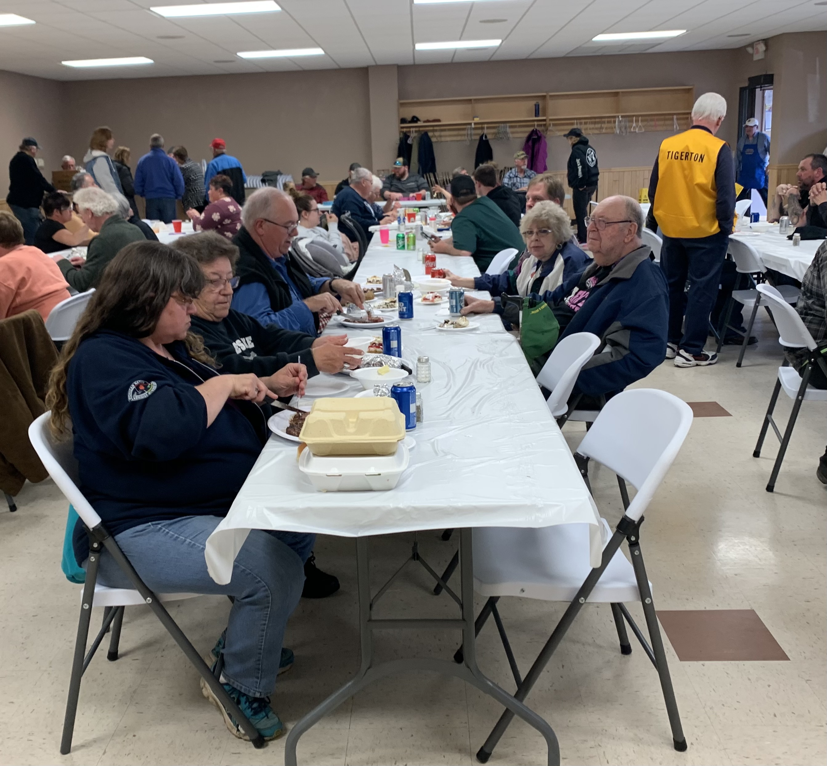 Tigerton residents enjoyed their meals that consisted of steak, potatoes, vegetables and desert, as well as soda, water, beer or mixed drinks.Luke Reimer   NEW Media