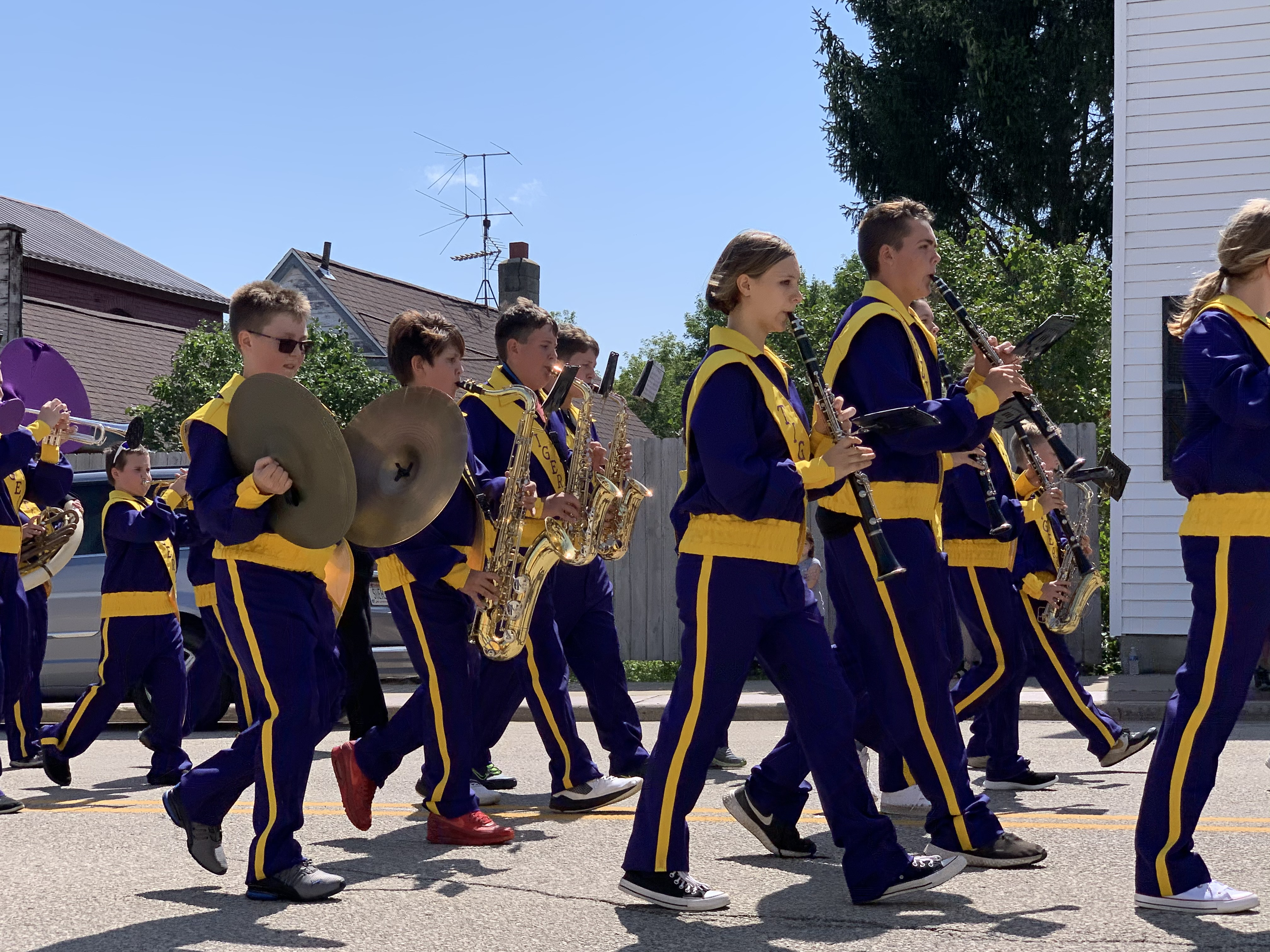 The Tigerton High School band kicks off the annual Lumberjack Days parade as they provide music and march along Cedar Street on Aug. 29.Luke Reimer | NEW Media