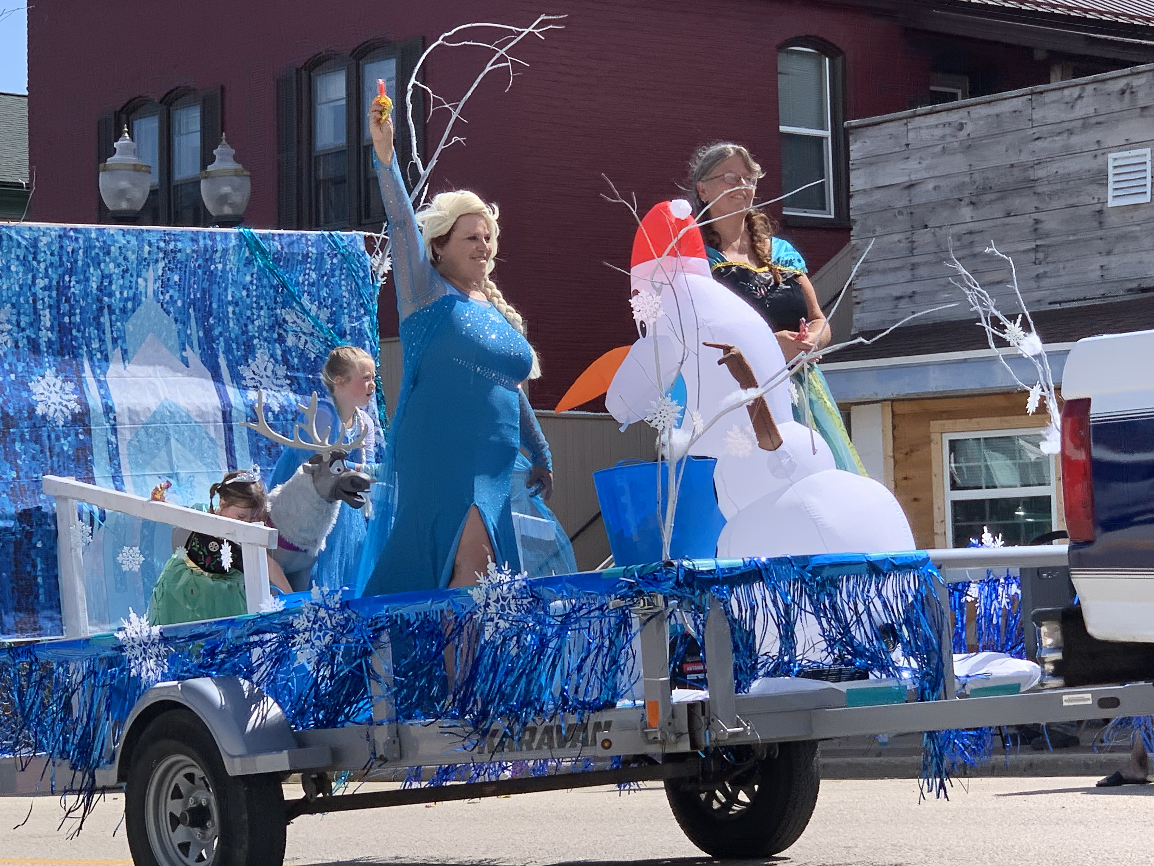 """A float featuring the characters from """"Frozen"""" was a sight to see as temperatures rose to 80 degrees and higher during the Lumberjack Days parade on Aug. 29.Luke Reimer 