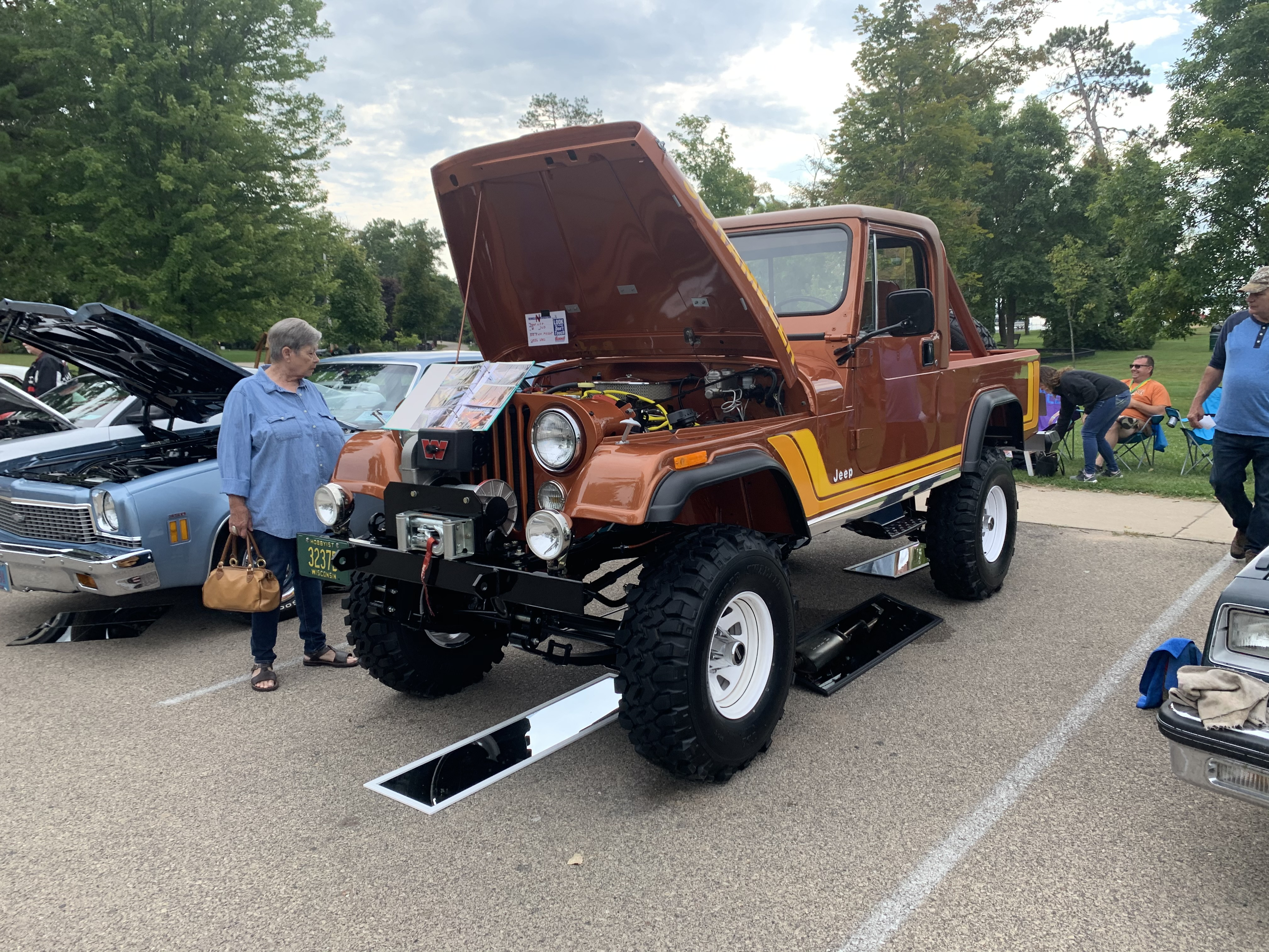 A custom Jeep with a lifted body and a bed was one of the popular attractions for visitors at the car show at Shawano Lake County Park on Sept. 12.Luke Reimer | NEW Media
