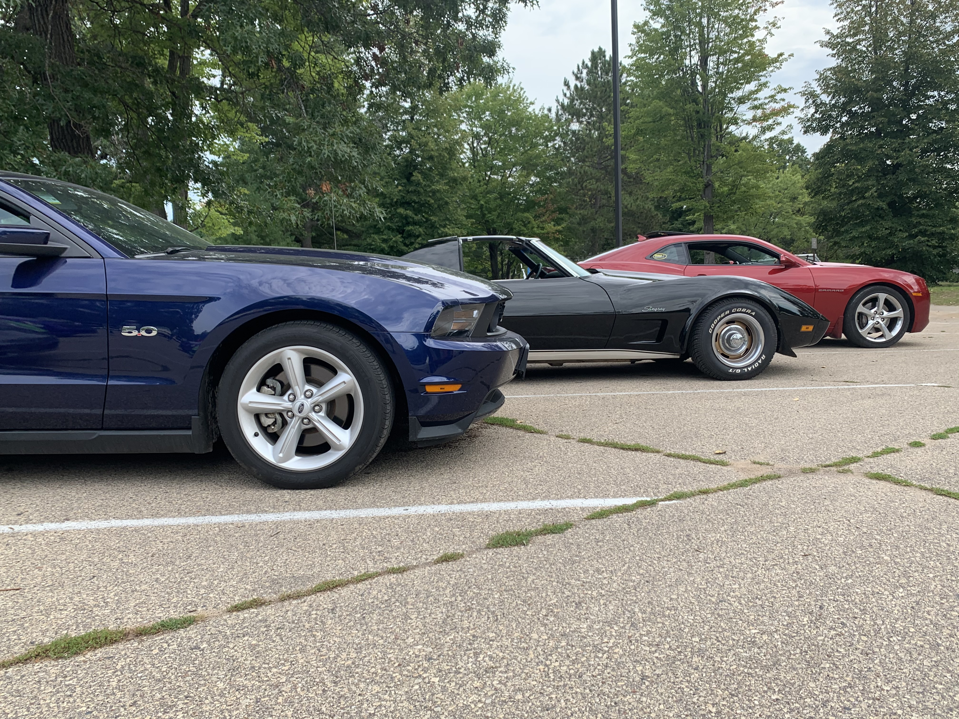 Sports cars line up in the parking lot of Shawano Lake County Park during the car show on Sept. 12.Luke Reimer | NEW Media