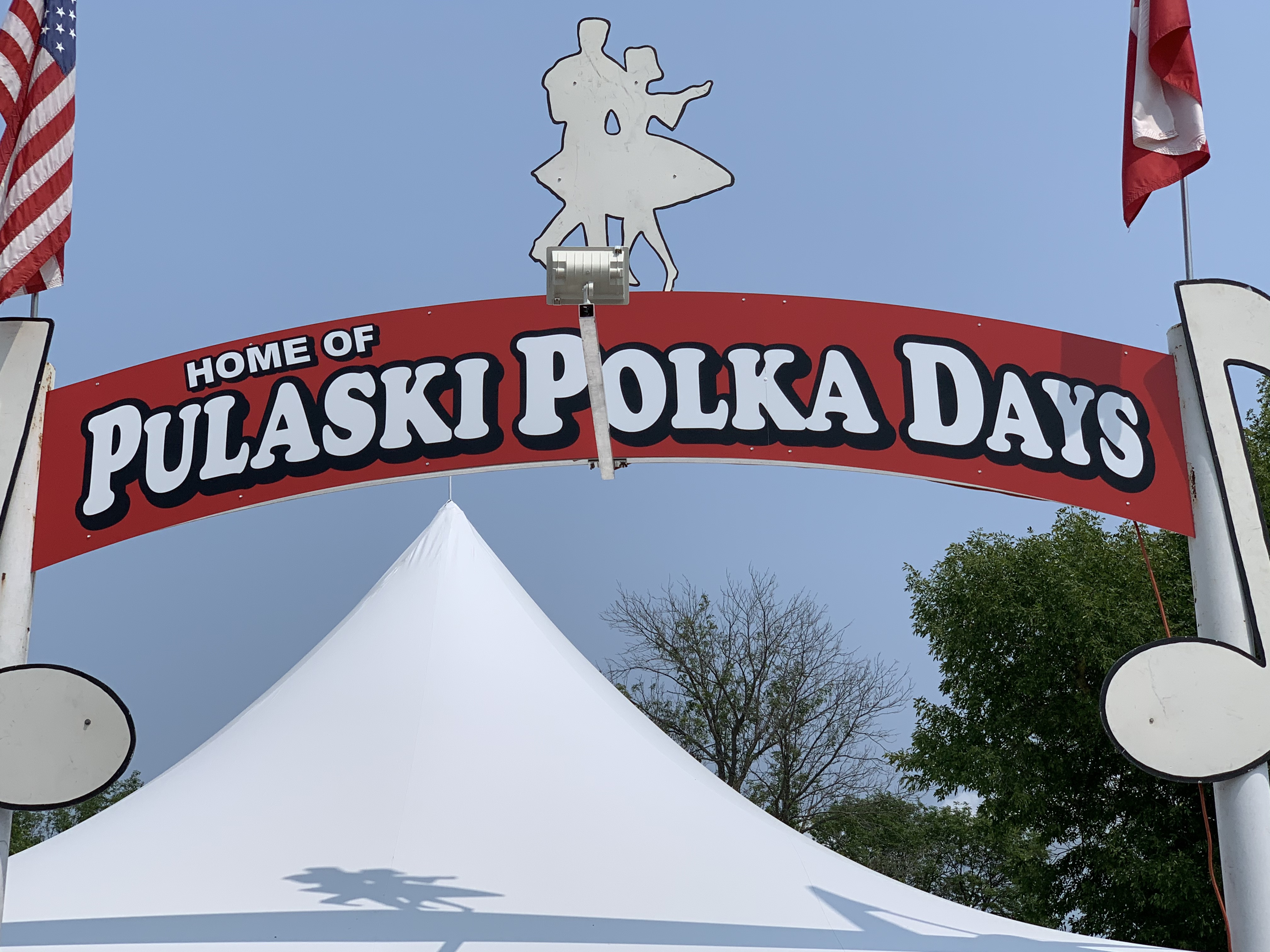 A giant sign welcomes visitors to the 42nd annual Pulaski Polka Days throughout the weekend at the Pulaski Polka Days Grounds.Luke Reimer   NEW Media