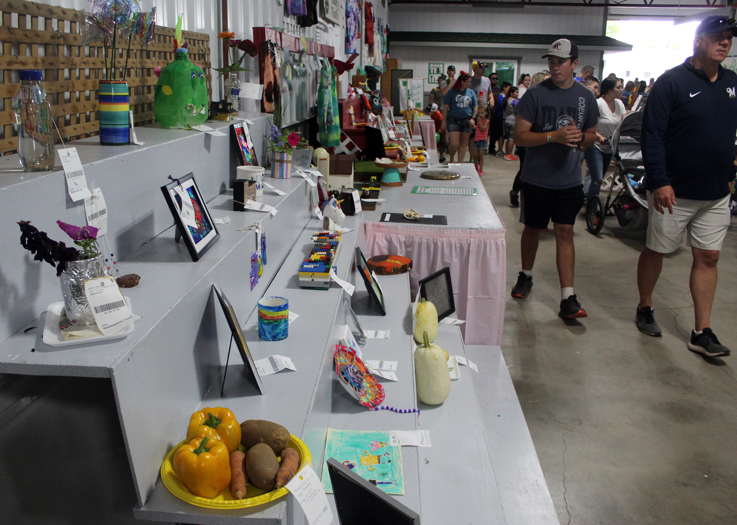 A variety of exhibits make by 4-H Cloverbuds attract the attention of people passing by during the Shawano County Fair.<br />(Lee Pulaski   NEW Media)