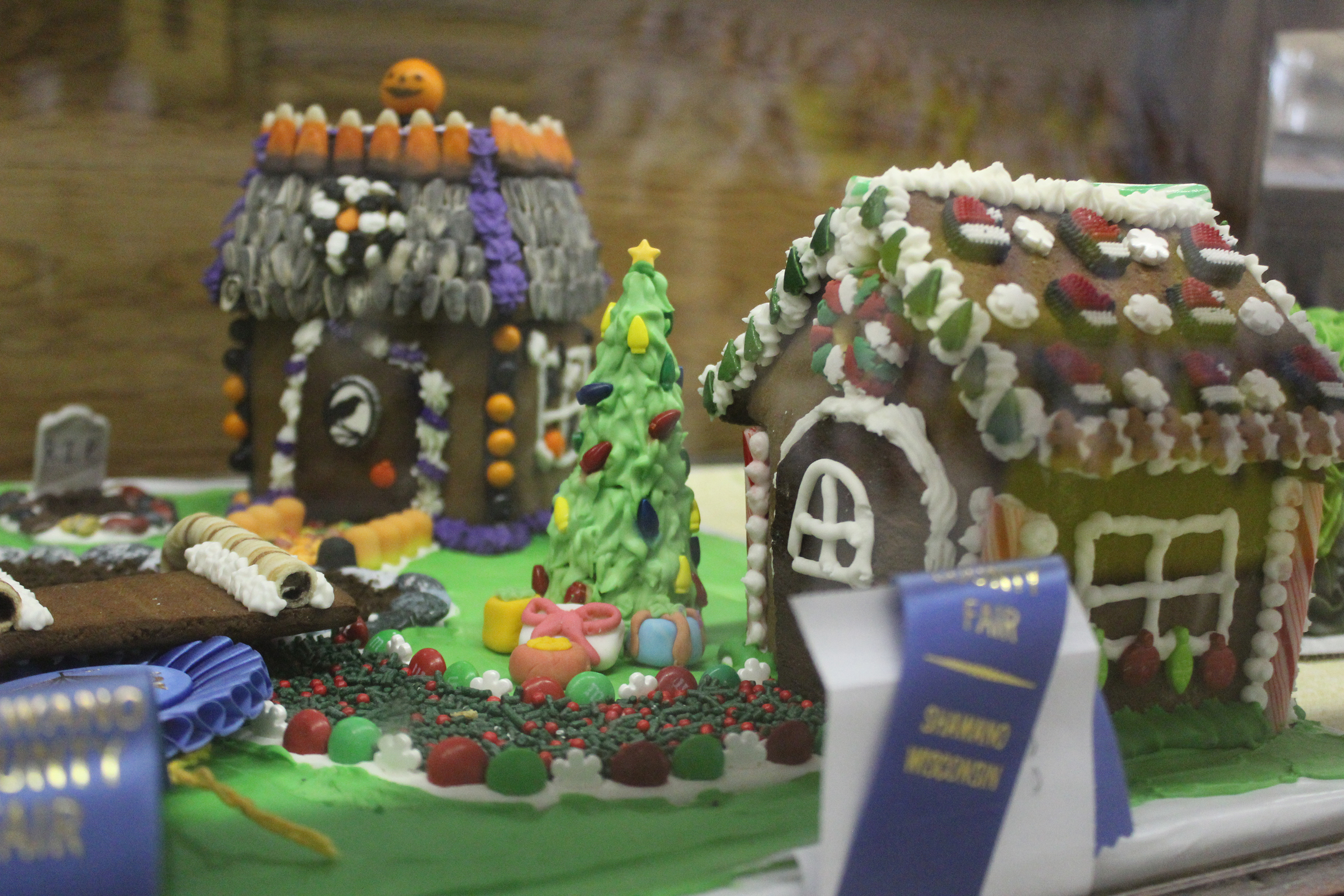 A pair of gingerbread houses sport blue ribbons in the commercial building at the Shawano County Fair.<br />(Lee Pulaski   NEW Media)