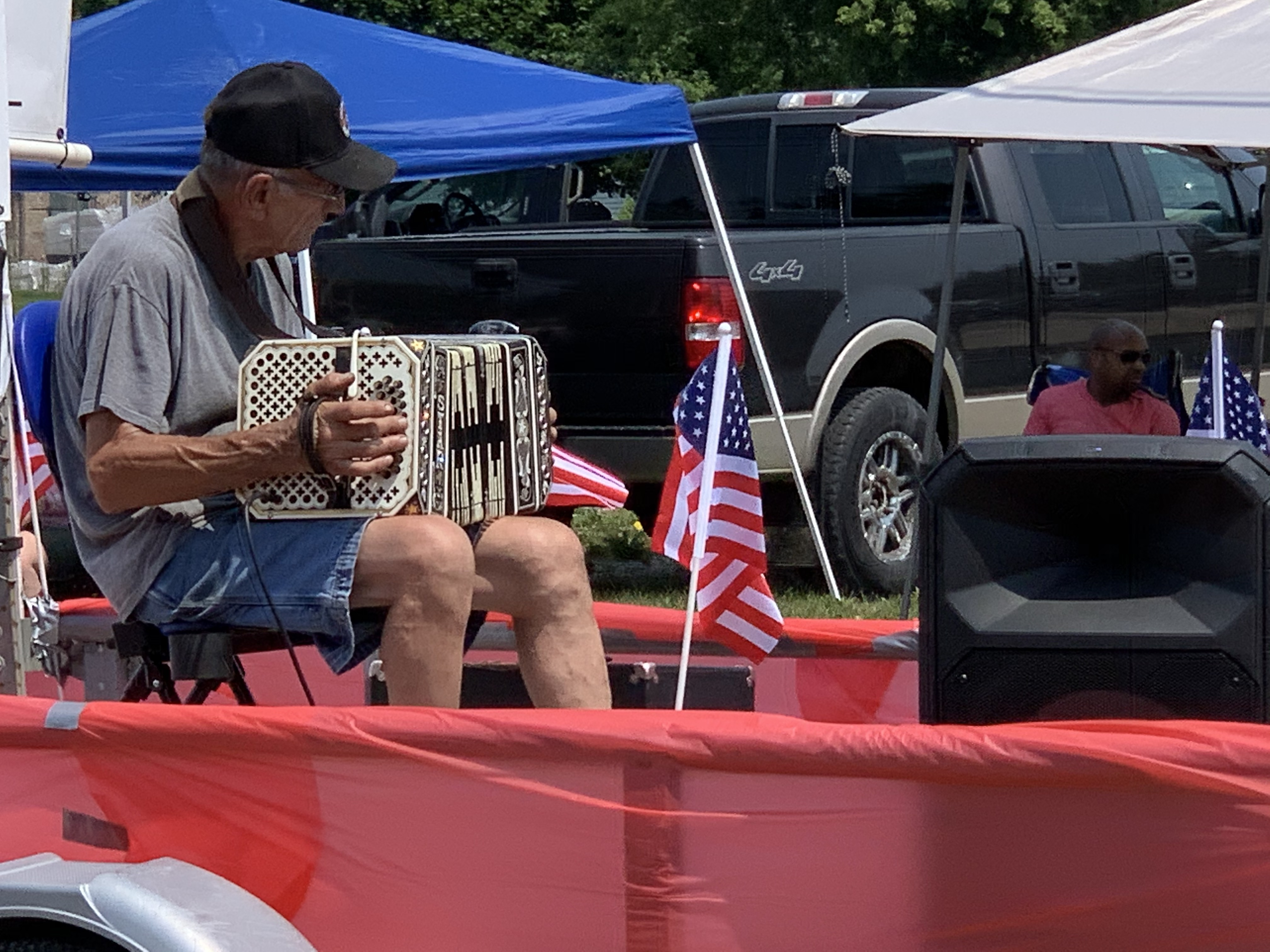 One float was dedicated to polka music so visitors could listen to the music as it passed by on July 4 in Bonduel.Luke Reimer | NEW Media
