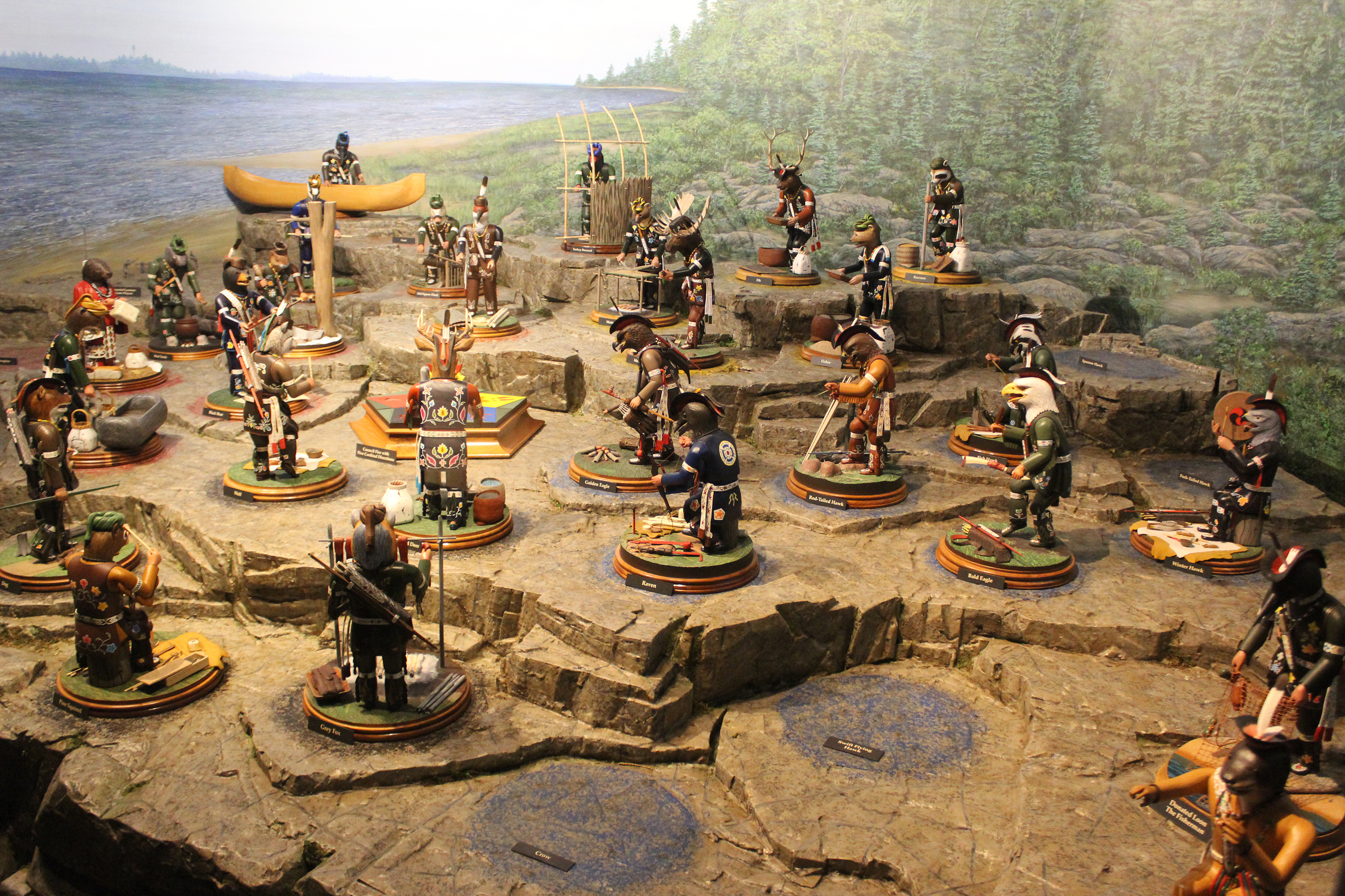 The full display of the Menominee Clans Story at Oshkosh Public Museum showcases over 30 wood figures depicting the various tribal clans. After a delay in 2020 due to the pandemic, the exhibit opened to great success on June 5.(Lee Pulaski   NEW Media)