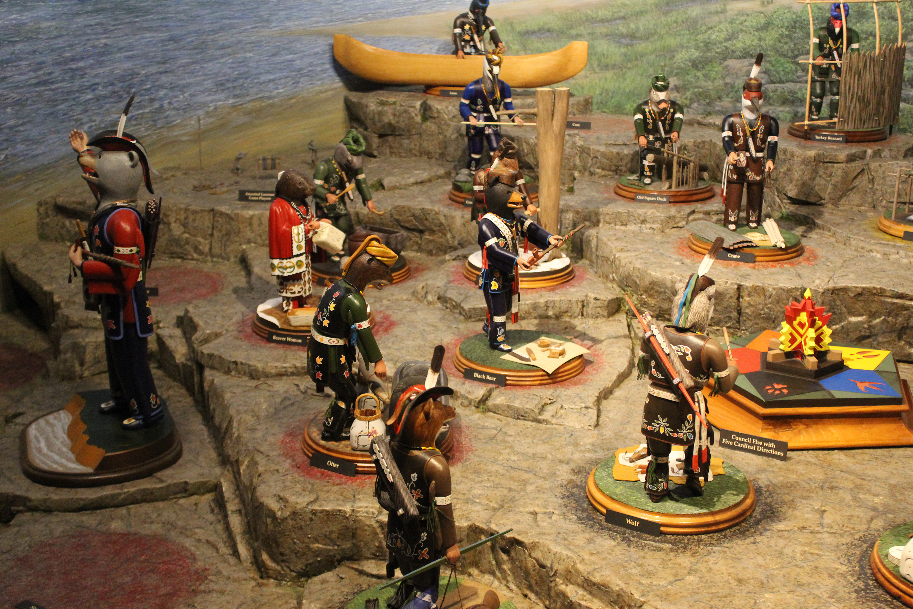 Many of the 30 figures depicting the various Menominee clans gather around a ceremonial fire designed to depict the five directions that represent the five principal clans.(Lee Pulaski   NEW Media)