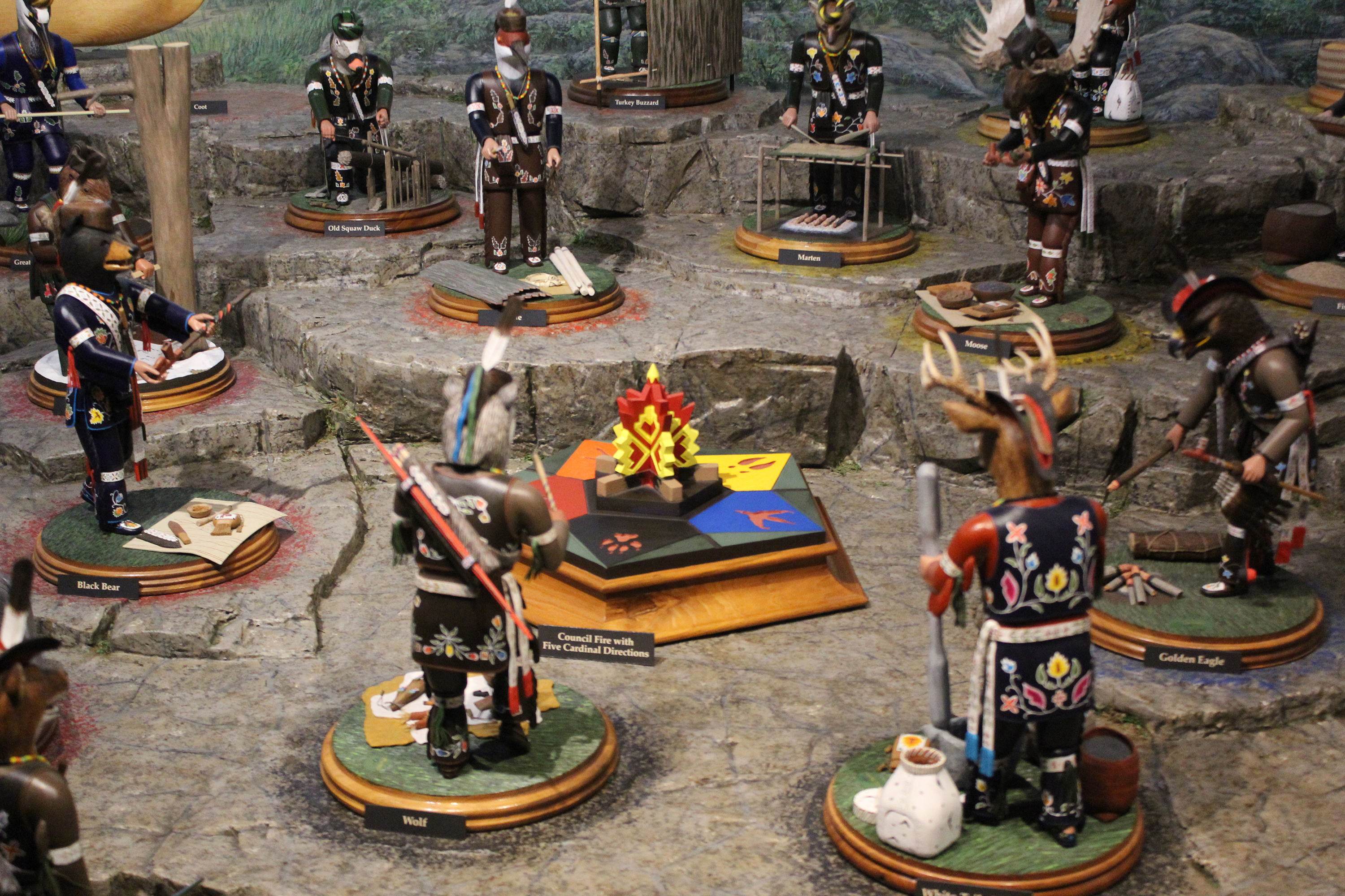 The council fire that many of the clan figures surround represents the five brothers or principal clans that make up the Menominee people.(Lee Pulaski   NEW Media)