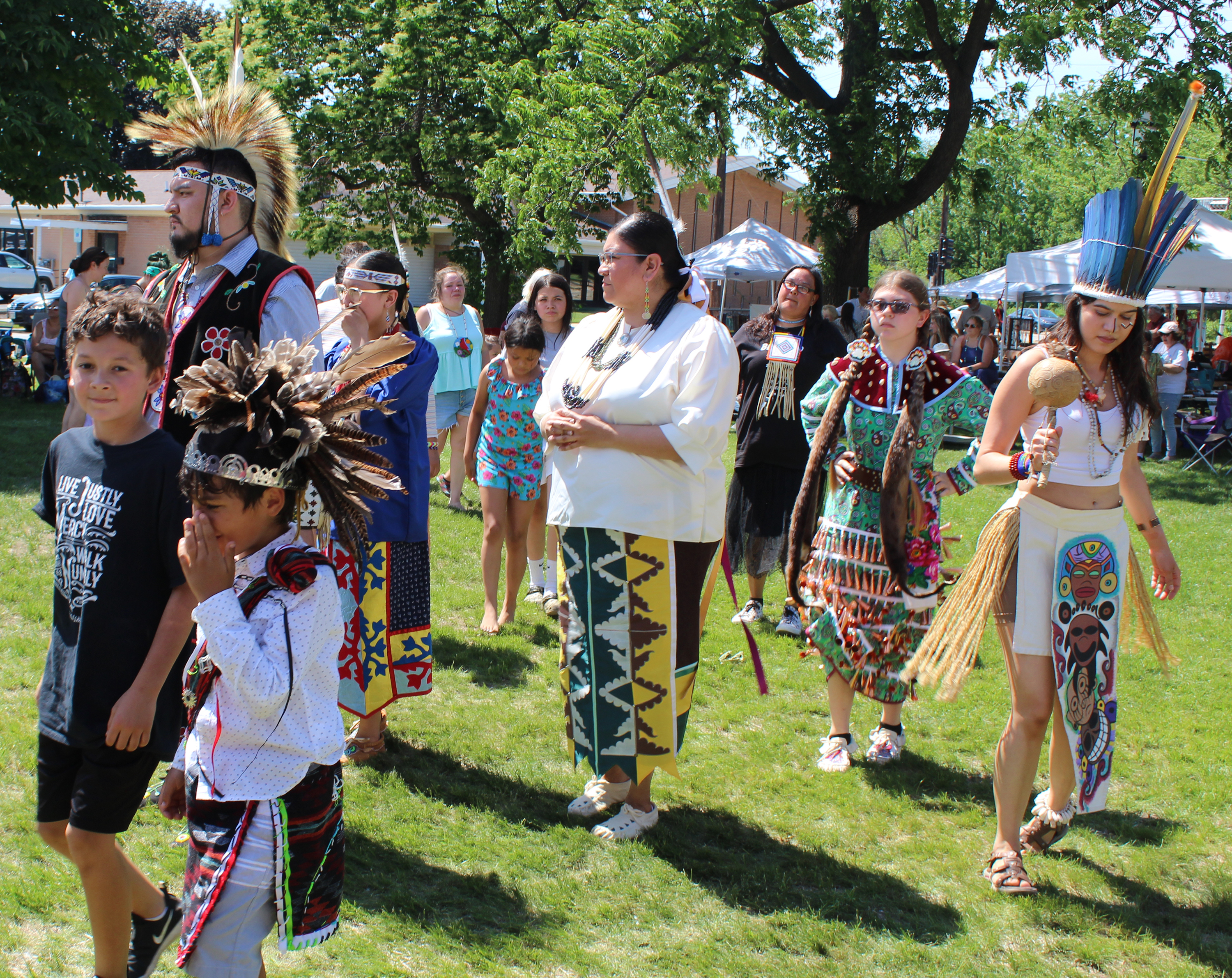 Families danced together — whether decked out in regalia or not — at the special powwow on June 5 celebrating the opening of the Menominee Clans Story exhibit at Oshkosh Public Museum.(Lee Pulaski   NEW Media)