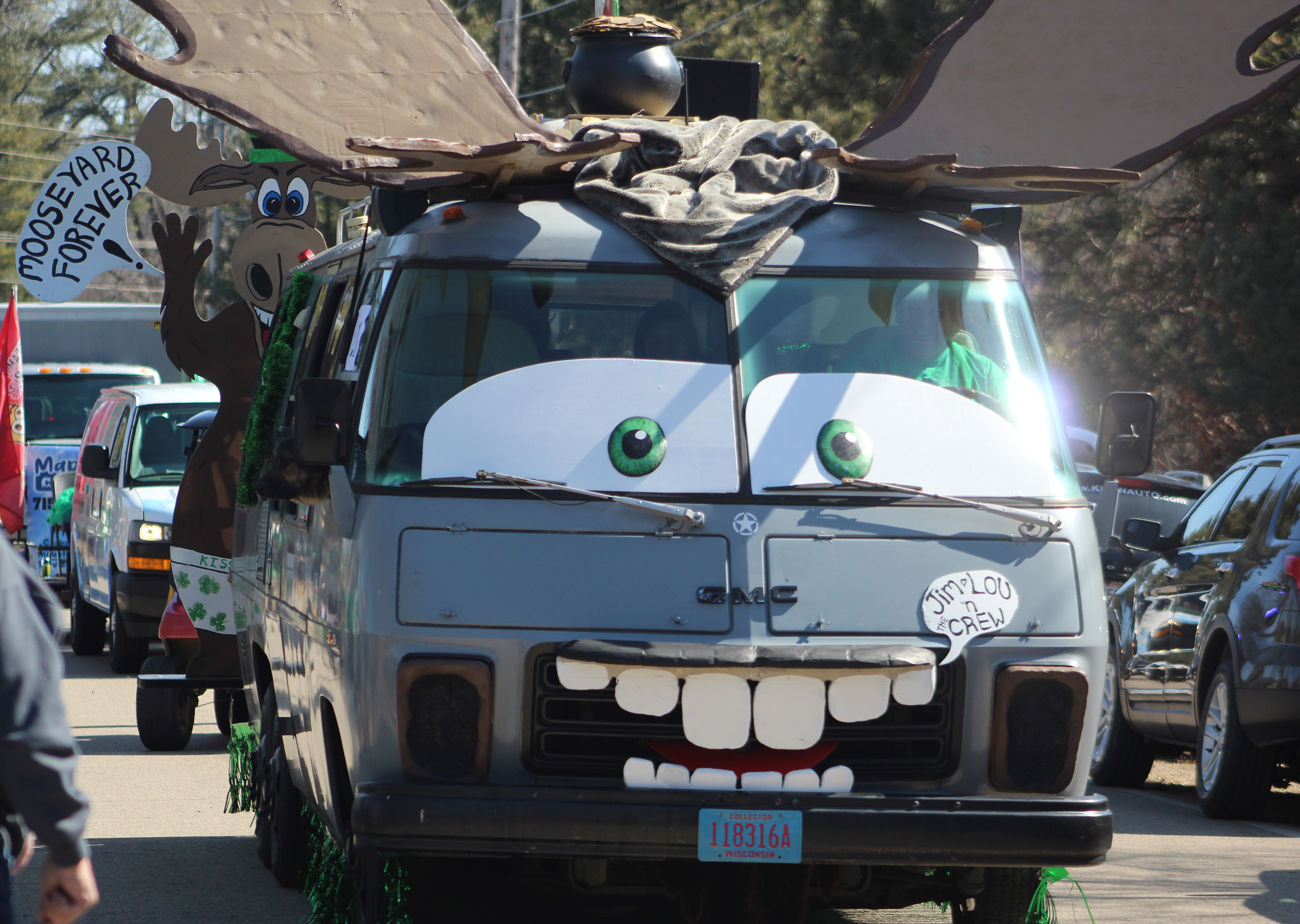 The Mooseyard is a beloved segment of the Town of Wescott. Some parade entries — like this vehicle from Classic's Restaurant and Lounge — minimized the green and focused on the moose part of the event.(Lee Pulaski   NEW Media)