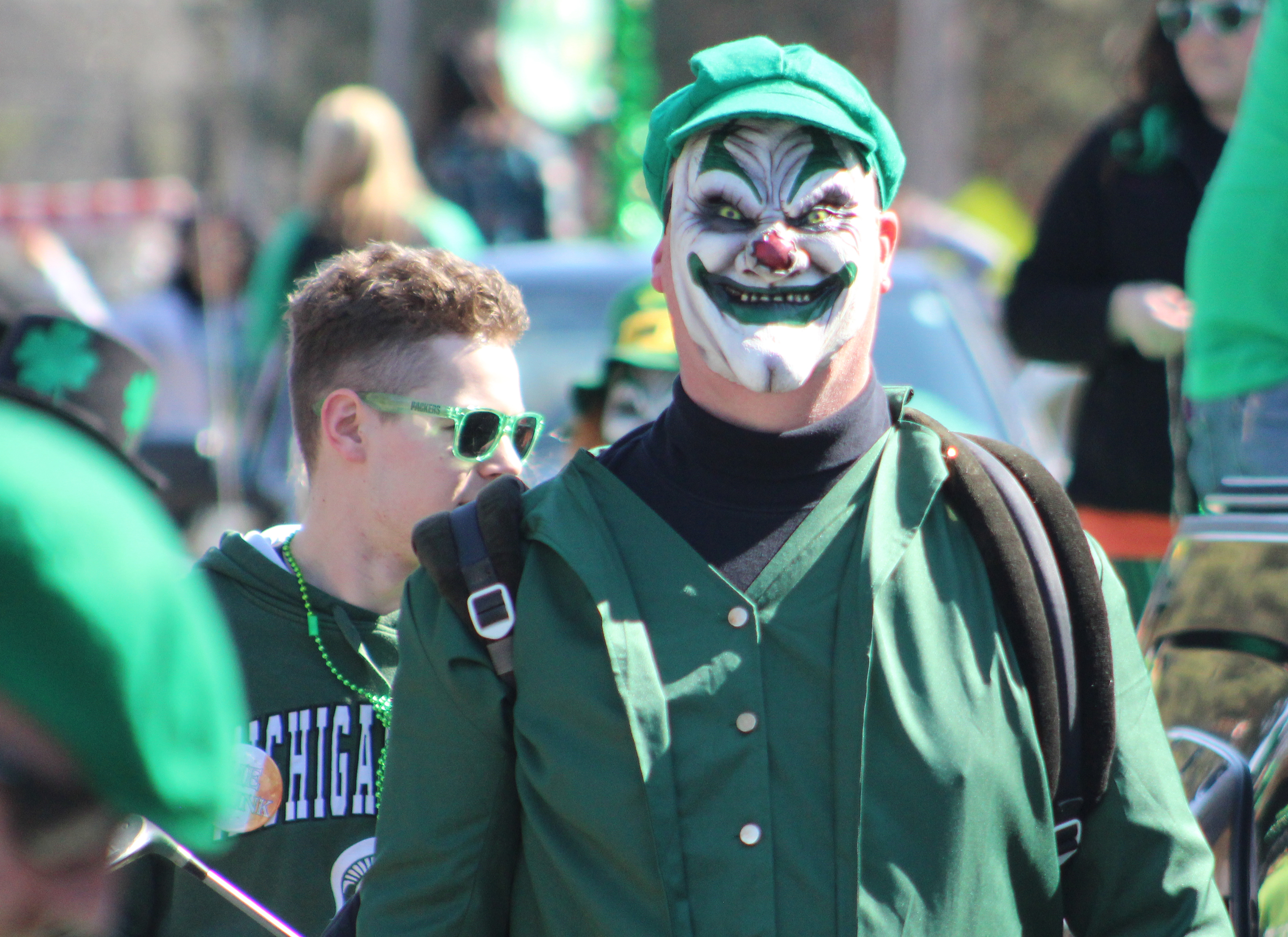 A naughty leprechaun provided a good scare to parade-goers March 13 during the Mooseyard St. Patrick's Day Parade in the Town of Wescott.(Lee Pulaski   NEW Media)