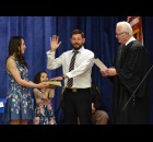 State Rep. Elijah Behnke takes the oath of office with his wife, Ashley, and daughter, Ayla, by his side, administered by Oconto County Judge Michael. T. Judge, April 28 at his alma mater, Oconto High School. Warren Bluhm | NEW Media