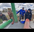 Volunteers from Shawano Area Water Management placed buoys in the channel that connects Shawano Lake and the Wolf River. The annual project helps direct boaters around shallow areas in the channel. Greg Mellis | NEW Media