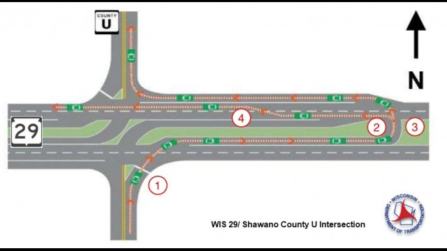 The map of state Highway 29 and County Road U gives a visual look at what drivers should do when they approach the J-turn.  Contributed